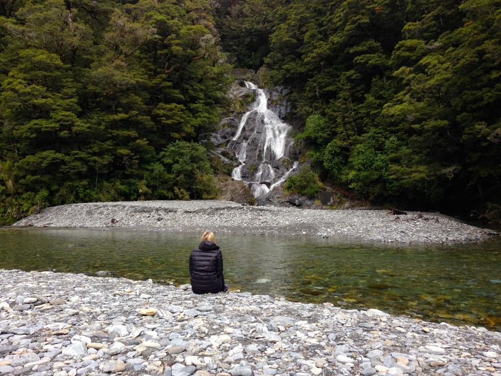 Stefanie Acworth Milford Highway Waterfall