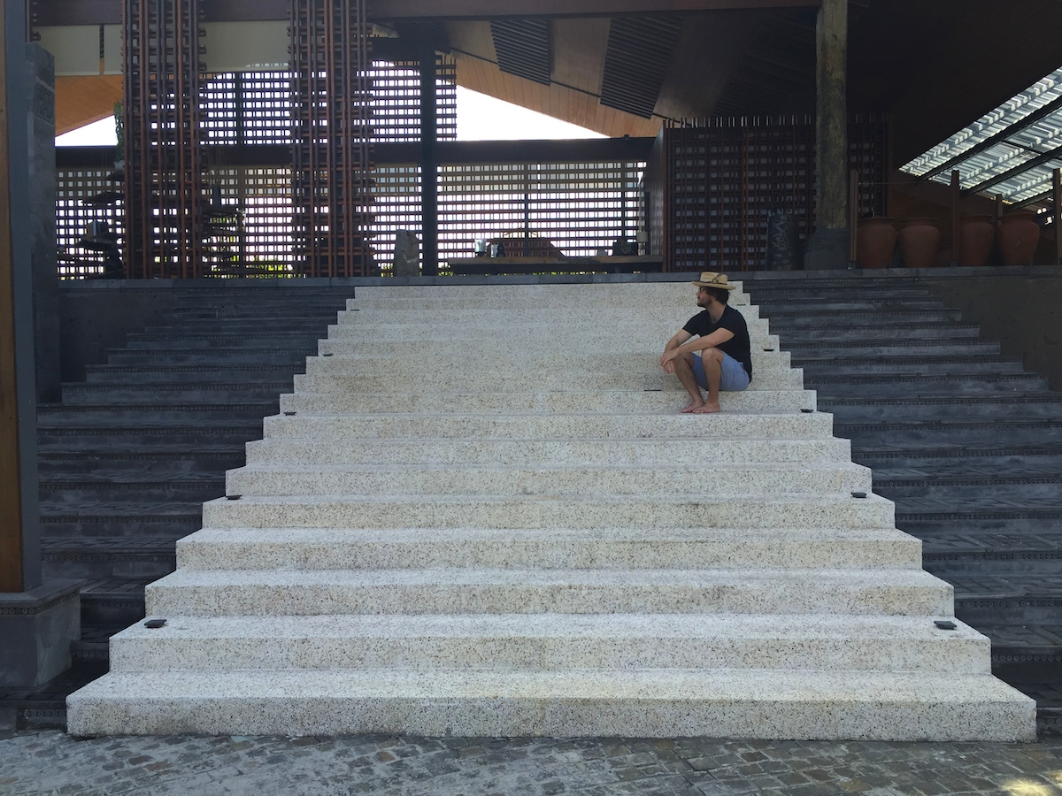 the santai villas reception stairs