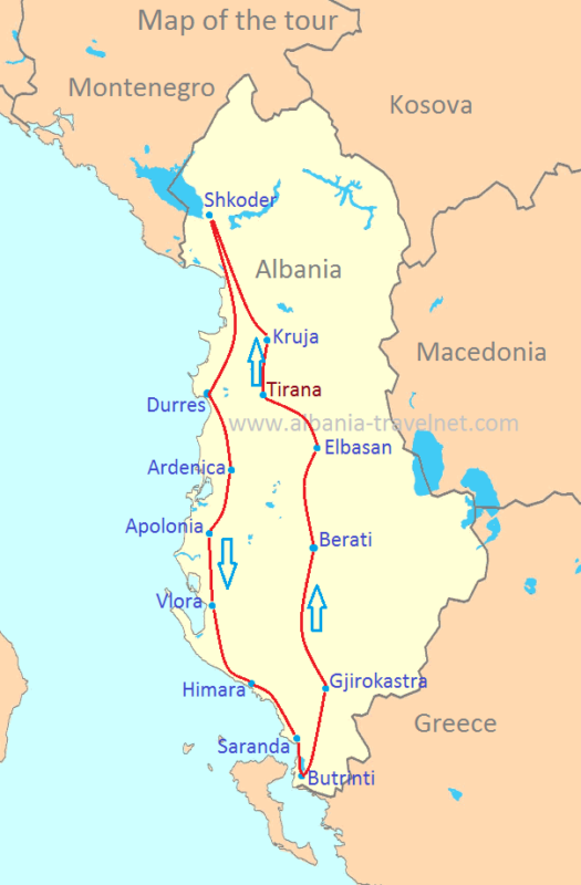 travelling the albanian coastline map
